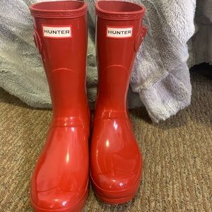 Glossy Red Short Hunter Boots